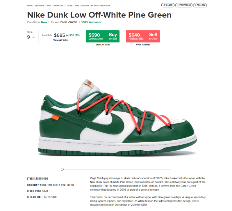 off white dunk green